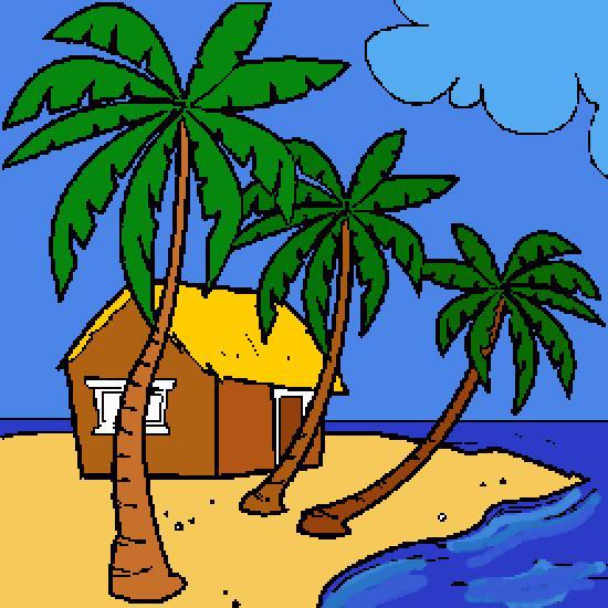 dibujo de verano: un paraíso de playa - Dibujos: verano y ...